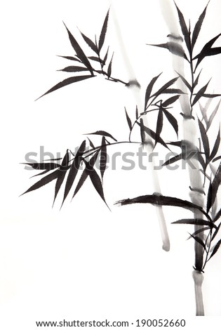 Bamboo Characters Chinese Calligraphy Stock Images
