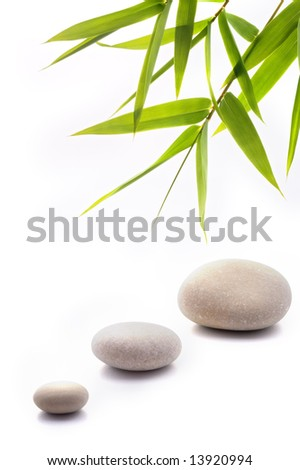 bamboo leafs and three stones isolated on white - stock photo