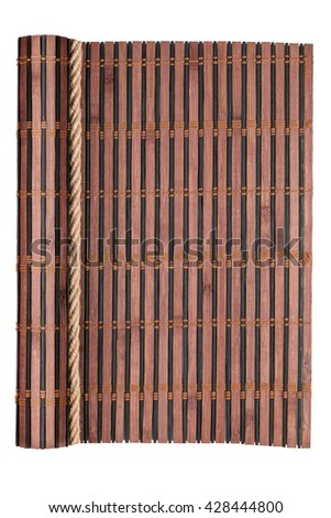 Bamboo mat with curled edges and rope, isolated on white background
