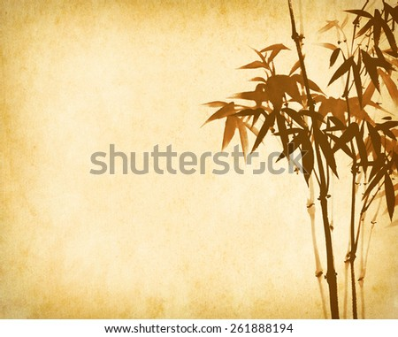 bamboo on old grunge antique paper texture - stock photo