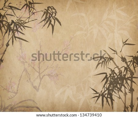 bamboo on old grunge art paper