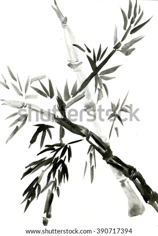 Bamboo, painted  in oriental style  - stock photo