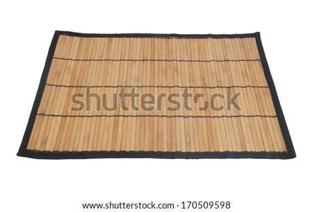 Bamboo placemat isolated on white background - stock photo