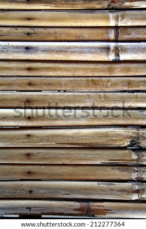 bamboo poles as wall with natural patterns - stock photo