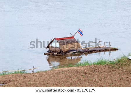 Bamboo raft on the river at Northeast, Thailand.