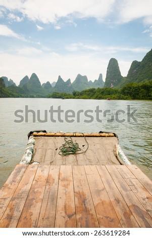 Bamboo rafting li river china - stock photo