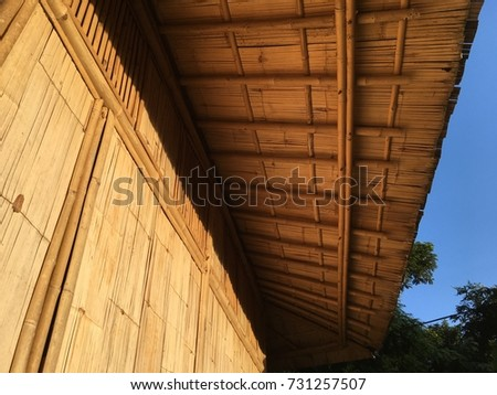 Bamboo roof of a bamboo house in Northern of Thailand.  The bamboo material is treated with Borax solution for a week and leaved to dry, then ready to use.