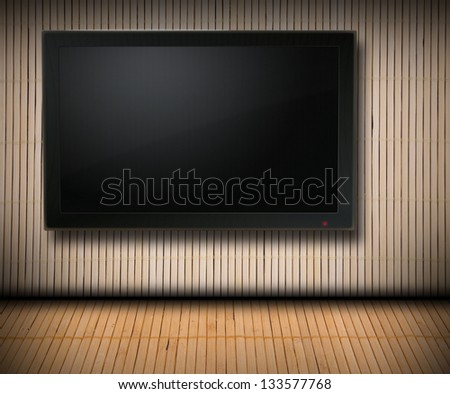 Bamboo room with blank TV screen - for Your text or picture