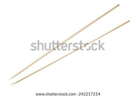 bamboo sticks isolated on white background - stock photo