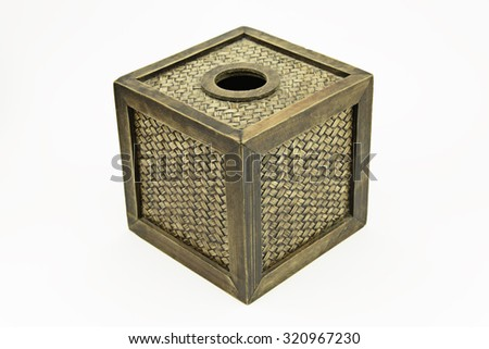 bamboo tissue box on white - stock photo