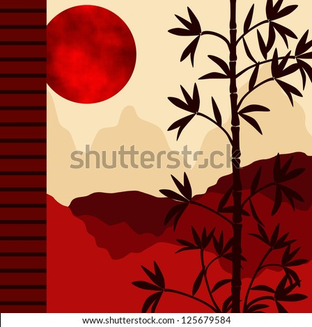Bamboo tree on a sunny day in red. - stock photo