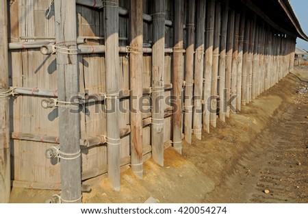 bamboo wall texture - stock photo