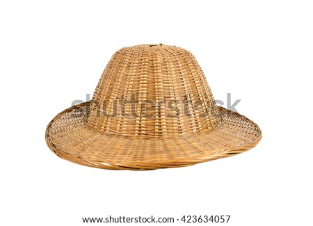 Bamboo weave hat isolated on white background