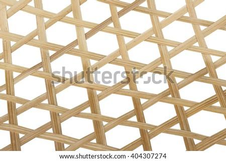 bamboo weave ,isolate white background - stock photo