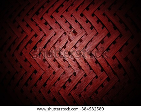 Bamboo weave pattern texture and background. red color - stock photo