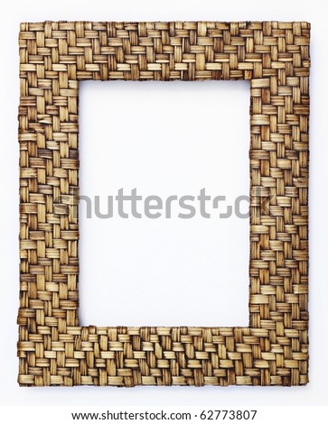 bamboo  weave picture frame isolated on white background