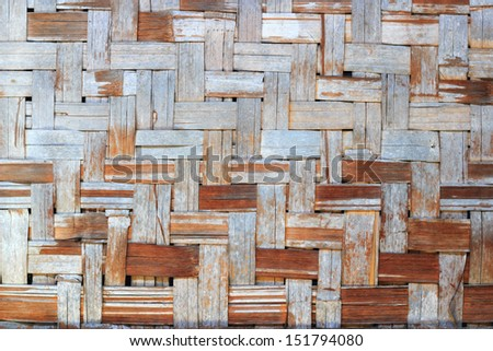 Bamboo wood background and texture ,Thai handwork