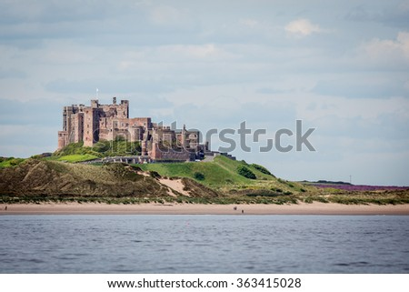 Bamburgh castle, Northumberland taken from west side  - stock photo