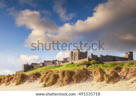 Bamburgh Castle, on the Northumberland coast, England. There has been a castle on this site since the 6th century, and the core of the existing castle in Norman.