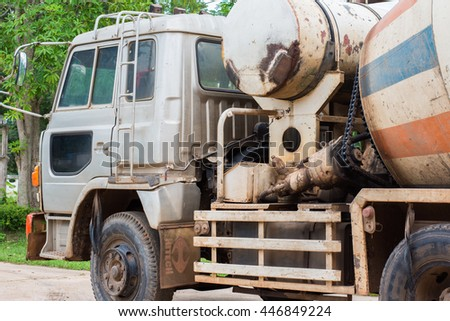 Ban Dong Luang hospital, Sakon Nakhon, Thailand July 3, 2016.  Concrete Mixer Truck Parkin. The mortar is poured into the area under construction. - stock photo