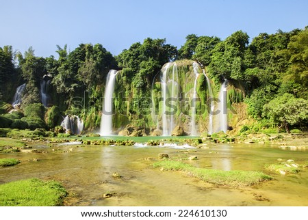 Ban Gioc - Detian waterfall in Vietnam - stock photo
