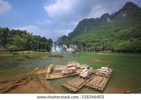 Ban Gioc waterfall, Cao Bang province, Vietnam - September 23, 2016:the boats are waiting tourists at Ban Gioc waterfall in Cao Bang, These are one of the nicest waterfalls in northern Vietnam.
