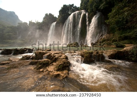 Ban Gioc Waterfall on the Quy Xuan River is located in Cao Bang Province,nears the Sino-Vietnamese border. The waterfall falls thirty meters. Located in Northern of Vietnam.