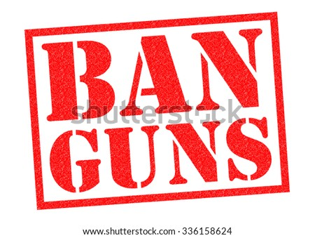 BAN GUNS red Rubber Stamp over a white background.
