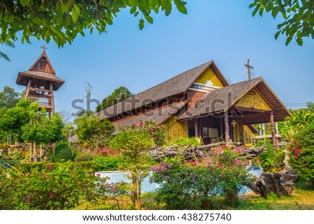 Ban Song Yae church, The Largest wooden church in Thailand at Yasothon province