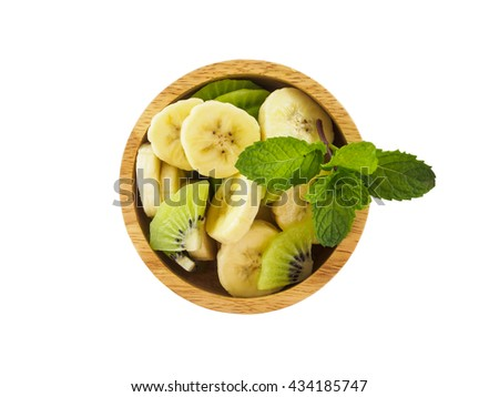 Banana and kiwi fruit cutting in bowl for diet food of isolated