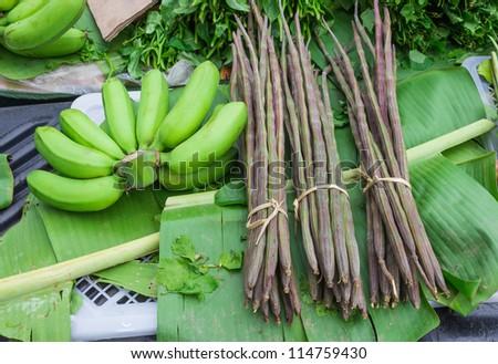 banana and moringa thai herb - stock photo