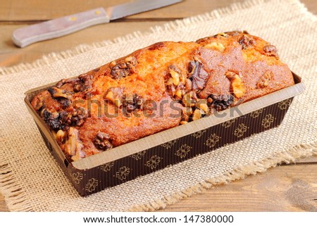 Banana and walnut cake - stock photo