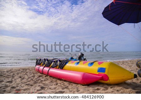 banana boat on the beach
