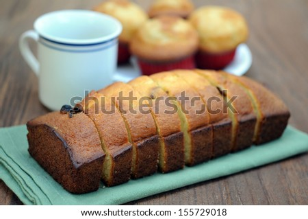 banana bread cake (shallow deep of field)  - stock photo