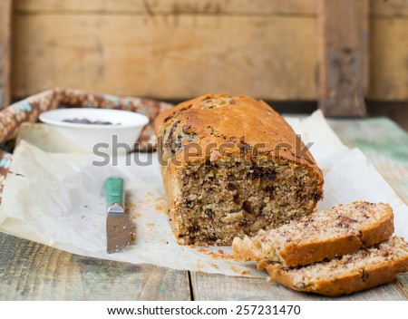 banana bread with chocolate - stock photo
