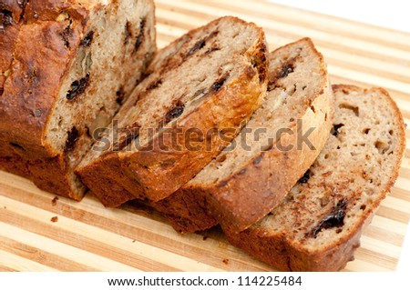 banana bread with walnuts and chocolate chips - stock photo
