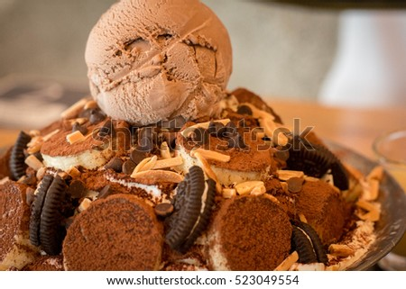 banana brownie and ice cream