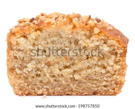 Banana cake bread isolated on white background - stock photo