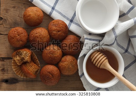 banana cake honey sweet pastries dessert eating yummy bakery rustic still life closeup delicious rustic background flat lay - stock photo