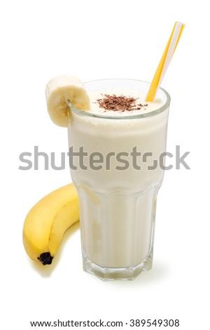 banana chocolate smoothie isolated - stock photo