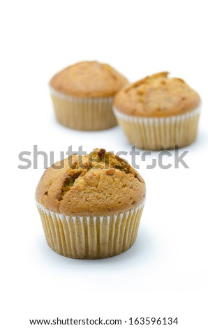 Banana cup cake isolated on white Background. - stock photo