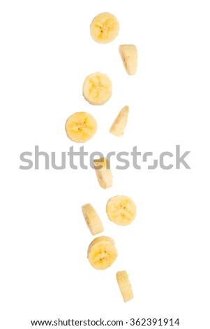 banana fall on white background - stock photo