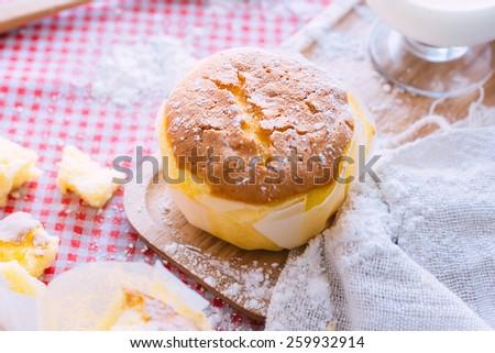 Banana Flavor Soft Cake with milk  - stock photo