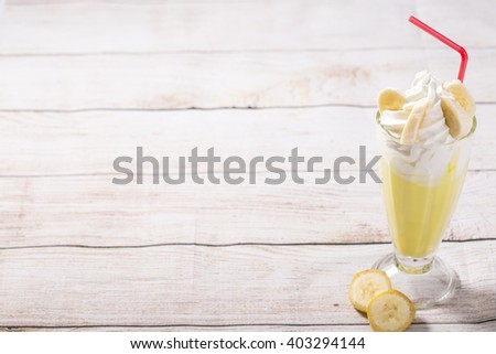 banana frappe with whipped cream decorated - stock photo