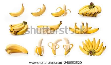 Banana fruit  isolated on white background  - stock photo