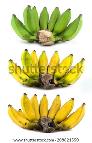 banana in a process of decompose ripening isolated over white background - stock photo