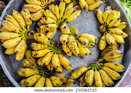 Banana in aluminium tray - stock photo