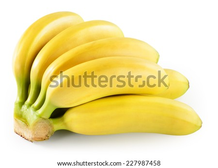 Banana isolated on white. With clipping path. - stock photo