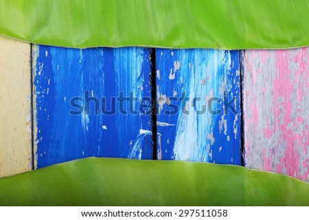 banana leaf on colorful wooden panels as background. - stock photo