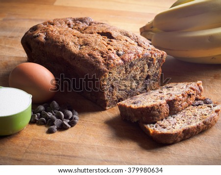 Banana loaf with chocolate chips - stock photo